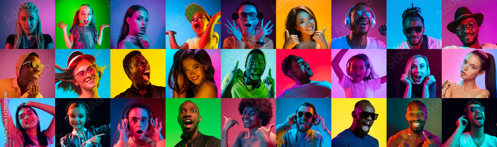 Fototapety, obrazy: Close up portrait of young people in neon light. Human emotions, facial expression. People, astonished, screaming and crazy in happiness. Creative bright collage made of different photos of 17 models.
