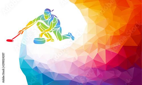 Polygonal geometric curling player vector illustration eps10 Fototapet