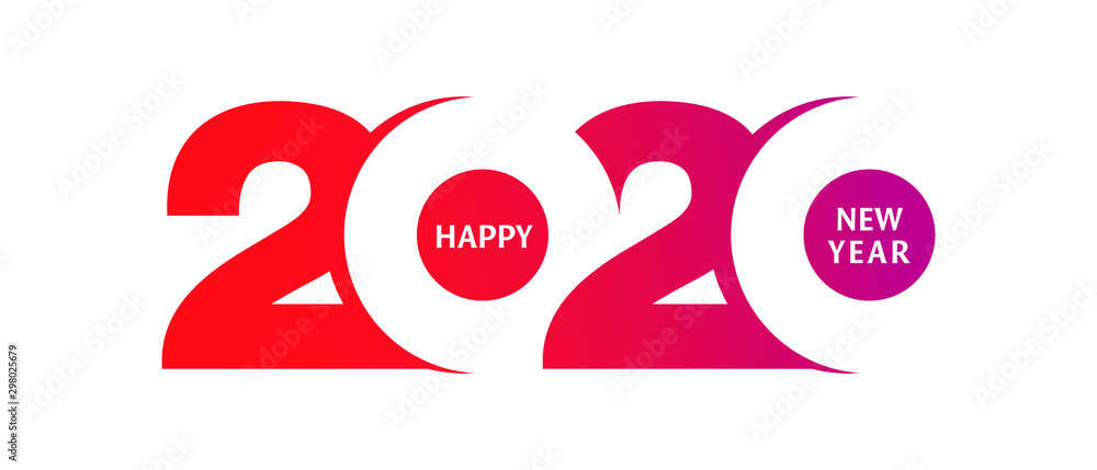 Fototapeta Happy New Year 2020 logo text design. Cover of business diary for 2020 with wishes. Brochure design template, card, banner. Vector illustration. Isolated on white background.