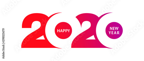 Happy New Year 2020 logo text design Tableau sur Toile