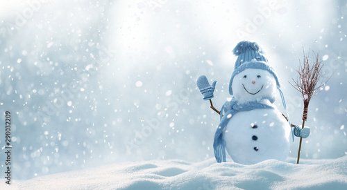 Obraz Christmas winter background with snow and blurred bokeh.Merry christmas and happy new year greeting card with copy-space. - fototapety do salonu