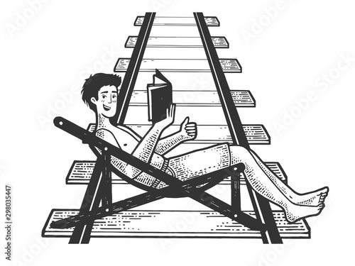 Fotografía Optimistic man resting in deck chair with book on railway track waiting for the train sketch engraving vector illustration