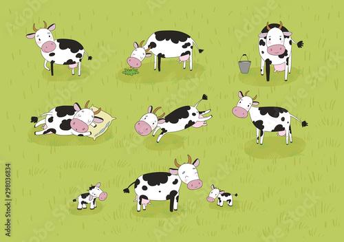 Obraz Set with cute cartoon cow. Farm animals - fototapety do salonu