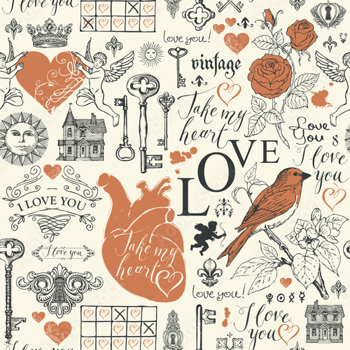 Vector seamless pattern on the theme of love and Valentine day in retro style Fototapeta
