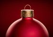 canvas print picture - Red christmas ball close-up against dark red background