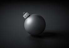 Close-up Of A Modern Matte Black Christmas Ball
