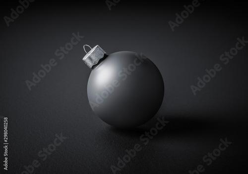 Stampa su Tela Close-up of a modern matte black Christmas ball