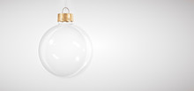 Stylish Glass Christmas Bauble On White Background For Winter Holiday Greeting Card. Design Template With Copy Space.