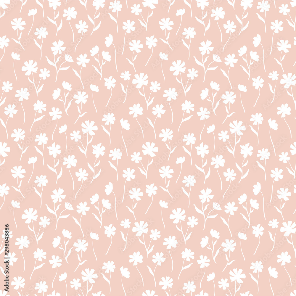 Fototapeta Cute ditsy floral seamless pattern, hand drawn lovely flowers, great for textiles, wrapping, banners, wallpapers - vector surface design