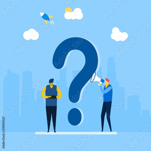 Fototapeta  answer to question metaphor with Tiny People Character Concept Vector Illustrati
