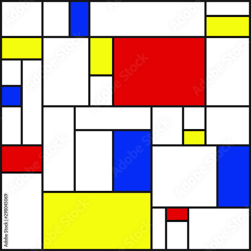 Vászonkép Seamless geometric abstract pattern. Mondrian style. Vector.