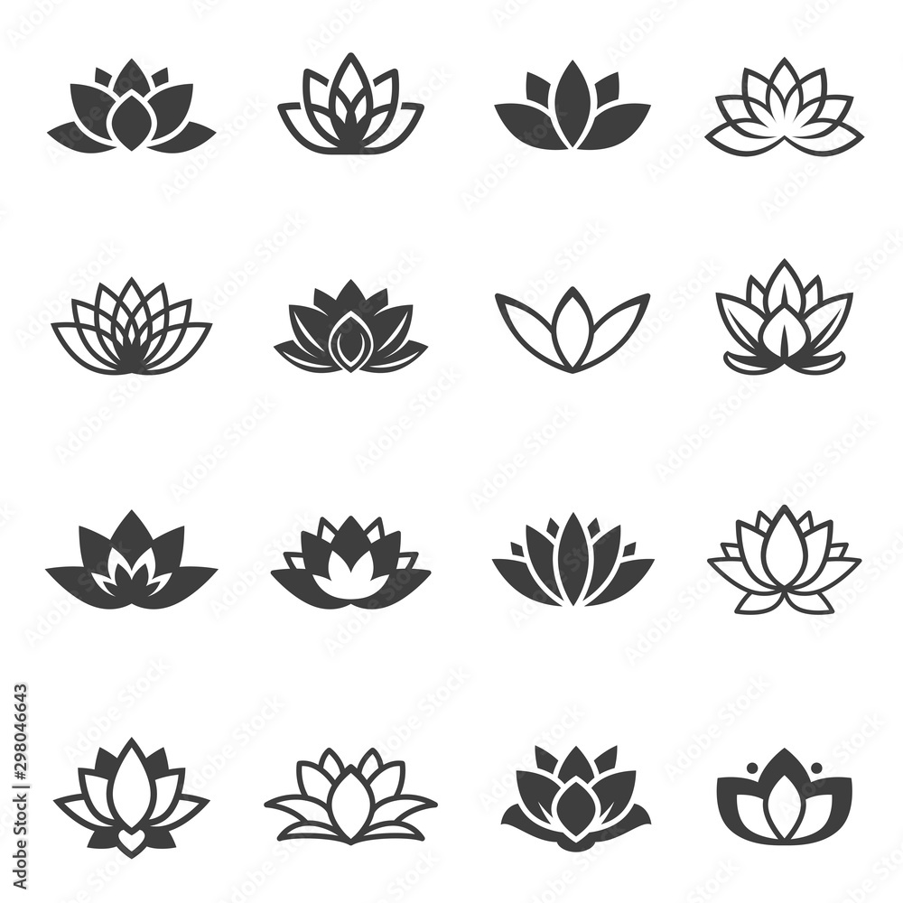 Lotus flowers black glyph and linear icons vector set <span>plik: #298046643 | autor: Vikivector</span>