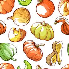 Pumpkins Hand Drawn Vector Color Seamless Pattern