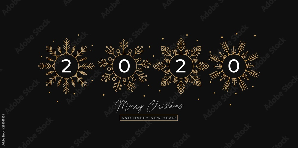 Fototapety, obrazy: Festive linear greeting card with flakes of snow vector illustration. Merry Christmas and Happy New Year 2020 postcard with golden snowflakes. Xmas holidays concept