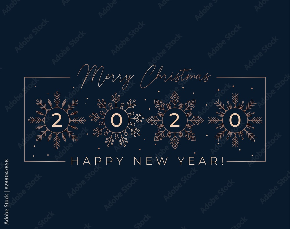 Fototapety, obrazy: Festive linear greeting card with snowflakes vector illustration. Template with Merry Christmas and Happy New Year 2020 wishes and rose gold snow of flakes on black background