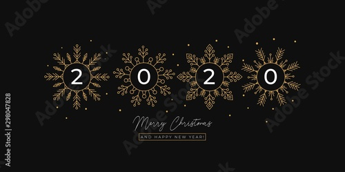 Pinturas sobre lienzo  Festive linear greeting card with flakes of snow vector illustration