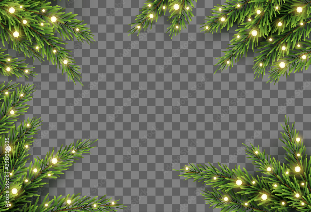 Fototapety, obrazy: Christmas tree decor with fir branches and lights on transparent background, vector illustration