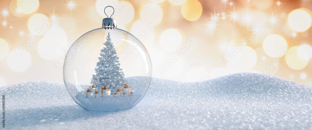 Fototapeta Christbaumkugel aus Glas mit Baum und Geschenken im Inneren