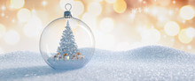 Christbaumkugel Aus Glas Mit Baum Und Geschenken Im Inneren