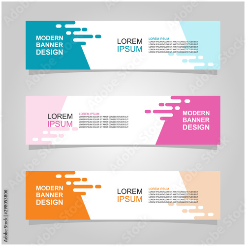 Fototapeta Vector abstract banner design web template set of 3. Abstract geometric background used for letterhead, header, footer, layout, landing page and print media obraz