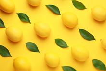Ripe Lemons On Color Background