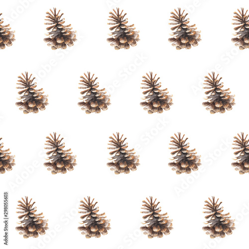 Fotografía  Watercolor seamless pattern with pine cones on white background