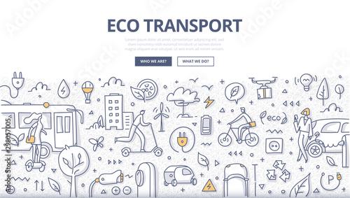 Fototapety, obrazy: Eco Transport Doodle Concept