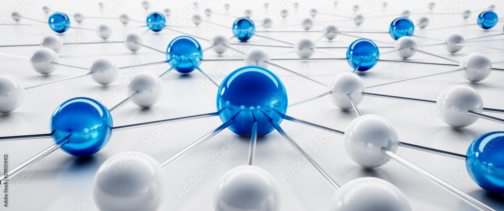 Fototapeta Blue and white sphere network structure - abstract design connection design - 3D illustration
