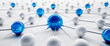 Leinwandbild Motiv Blue and white sphere network structure - abstract design connection design - 3D illustration