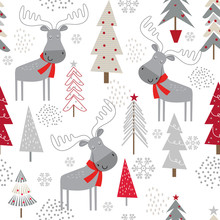 Seamless Christmas Background With Decorative Christmas Trees And Cute Moose Design