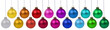 canvas print picture - Christmas balls many baubles banner colors color colorful hanging isolated