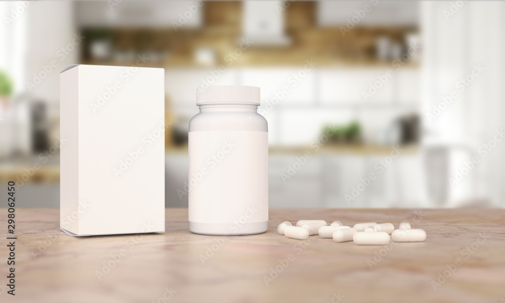 Fototapety, obrazy: Blank Plastic Packaging Bottle with Box on Kitchen Background. Food supplement package for capsules.Capsules included