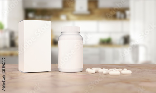 Stampa su Tela  Blank Plastic Packaging Bottle with Box on Kitchen Background