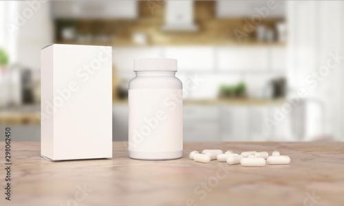 Blank Plastic Packaging Bottle with Box on Kitchen Background Obraz na płótnie
