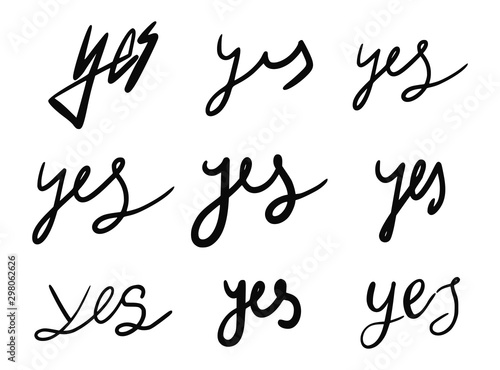 Poster Positive Typography Set of yes words calligraphic hand drawn icons