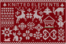 Set Of Christmas Knitted Elements And Decorations. Knitted Deer, Snowflakes, Ornament, Christmas Tree On A Red Background.