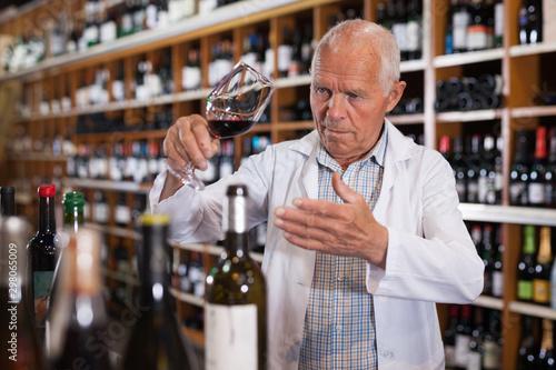 Pinturas sobre lienzo  Wine producer inspecting quality of wine