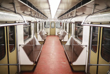 Subway Car With Empty Seats. E...