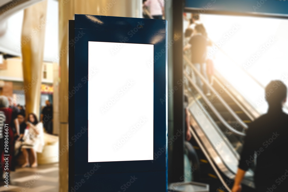 Fototapety, obrazy: blank advertising billboard at airport,Mock up Poster media template Ads display in Subway station escalator