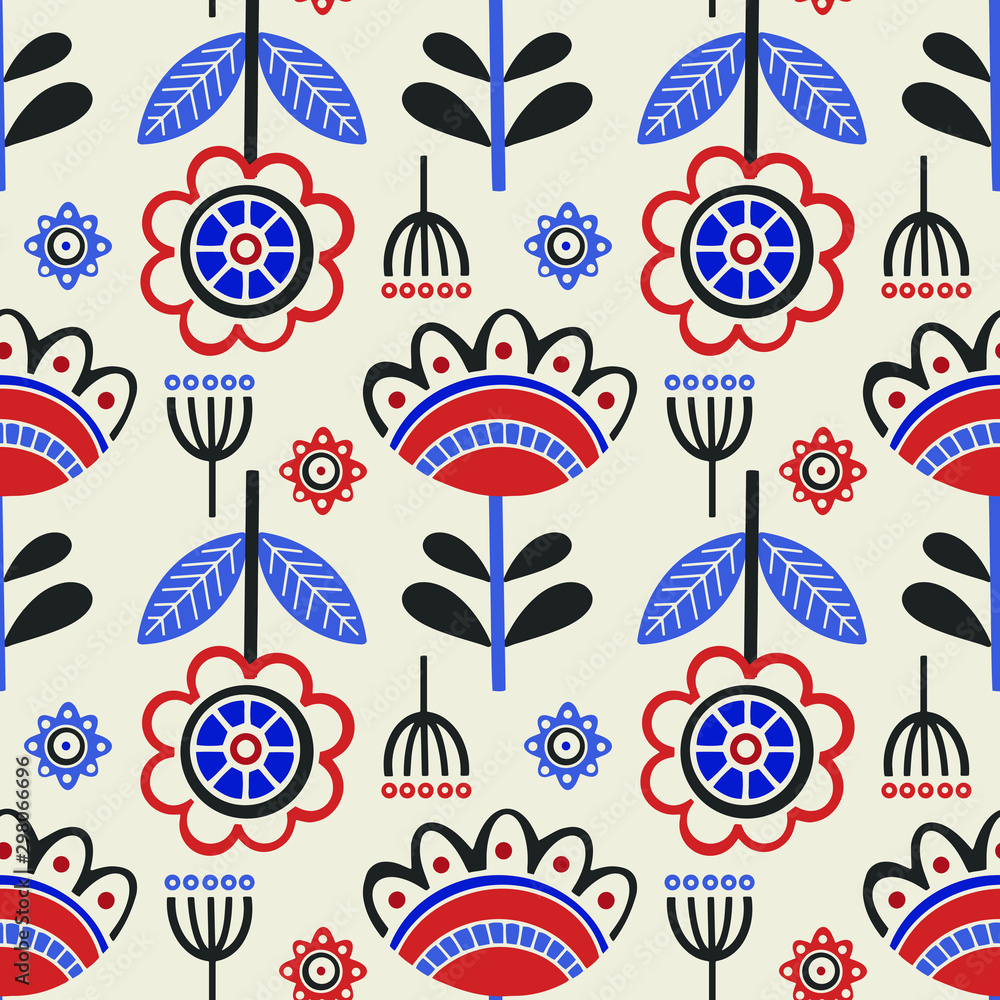 Seamless pattern with floral elements in scandinavian style.