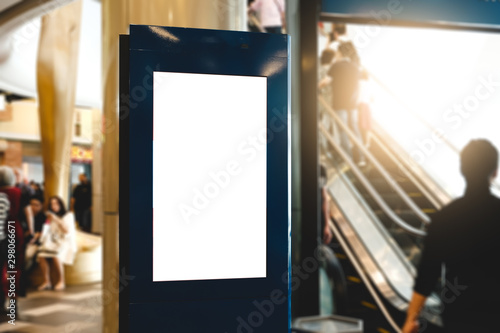 Fotografía  blank advertising billboard at airport,Mock up Poster media template Ads display