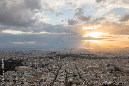 Sunset landscapes in Athens with ancient Acropolis and old city Wallpaper Mural