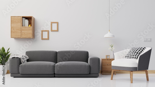 Obraz Interior poster mock up living room with colorful white sofa . 3D rendering. - fototapety do salonu