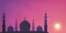 Dark Mosque Silhouette On Violet Sunset Sky Smoky Background. Vector Banner Illustration