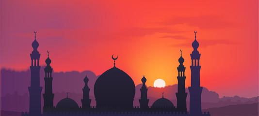 Ciemna meczetowa sylwetka na kolorowym tle chmurnieje czerwieni i fiołka nieba i chmur, wektorowa sztandar ilustracja
