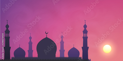 Carta da parati Dark mosque silhouette on violet sunset sky smoky background