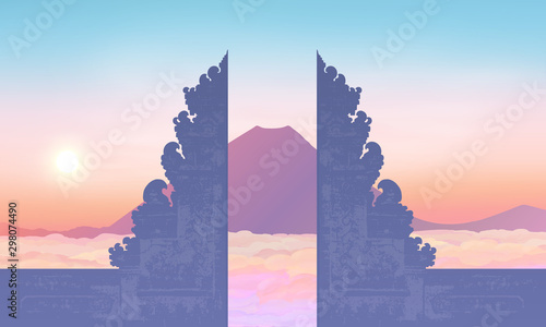 Photo Morning sky with mountain and traditional balinese gate silhouette, vector illus