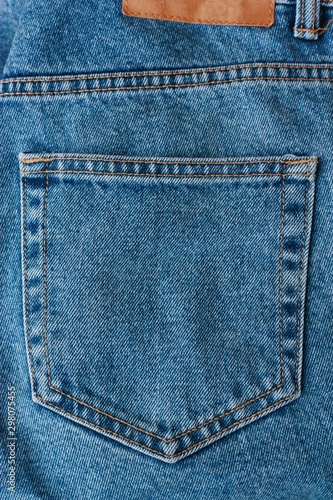 Beautiful textile blue jeans with pocket close up Wallpaper Mural