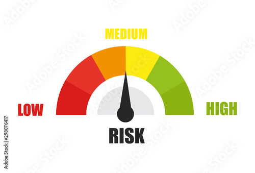 Pinturas sobre lienzo  Risk concept on speedometer. Vector flat icon