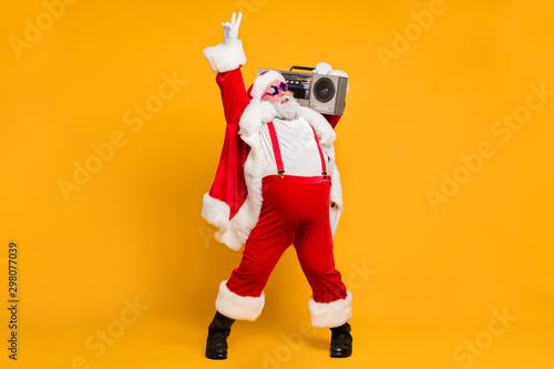 Full size photo of funny overweight christmas white beard hair grandfather hold Obraz na płótnie